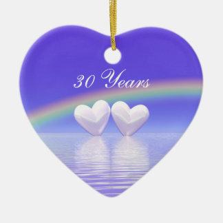 30th Anniversary Pearl Hearts Ceramic Ornament