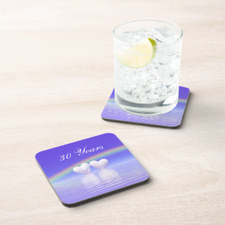 30th Anniversary Pearl Hearts Drink Coaster