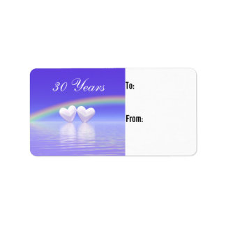 30th Anniversary Pearl Hearts Gift Tag Label