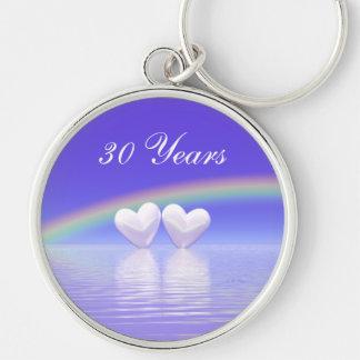 30th Anniversary Pearl Hearts Keychain