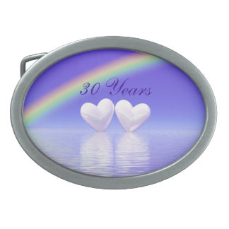 30th Anniversary Pearl Hearts Oval Belt Buckle