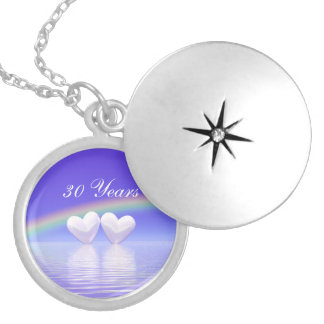 30th Anniversary Pearl Hearts Round Locket Necklace