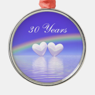 30th Anniversary Pearl Hearts Round Metal Christmas Ornament
