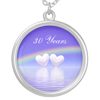 30th Anniversary Pearl Hearts Round Pendant Necklace