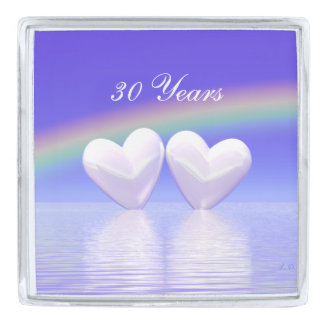 30th Anniversary Pearl Hearts Silver Finish Lapel Pin