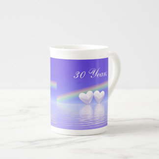 30th Anniversary Pearl Hearts Porcelain Mugs