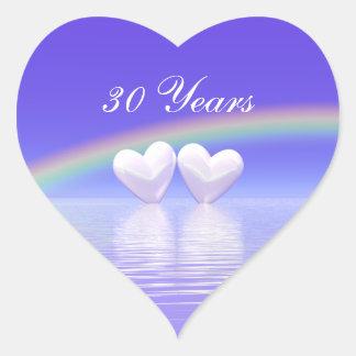 30th Anniversary Pearl Hearts Heart Stickers