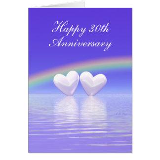 30th Anniversary Pearl Hearts (Tall) Card