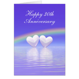30th Anniversary Pearl Hearts (Tall) Greeting Card
