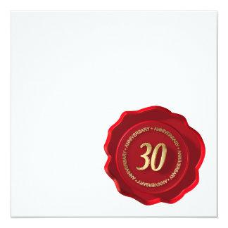 "30th anniversary red wax seal 5.25"" square invitation card"