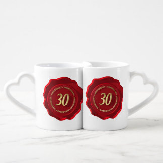 30th anniversary red wax seal lovers mug set