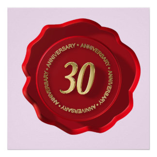 30th anniversary red wax seal poster