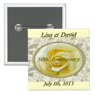 30th Anniversary save the date yellow rose  Button