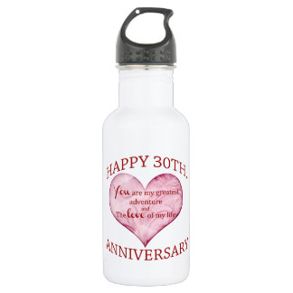 30th. Anniversary Stainless Steel Water Bottle
