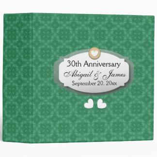 30th Anniversary Wedding Anniversary Green Z08 3 Ring Binder