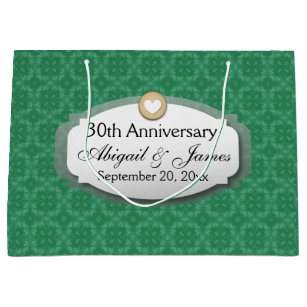 30th Anniversary Wedding Green Z08 Large Gift Bag