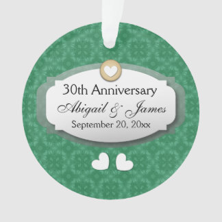 30th Anniversary Wedding Anniversary Green Z08 Ornament