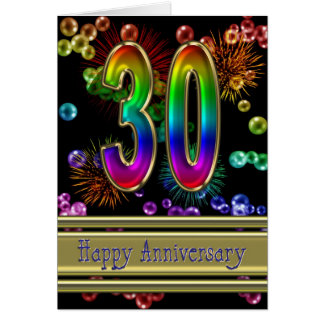 30th anniversary with fireworks and bubbles card
