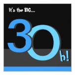 """30th Big 3Oh! Birthday Party Invitation 5.25"""" Square Invitation Card"""