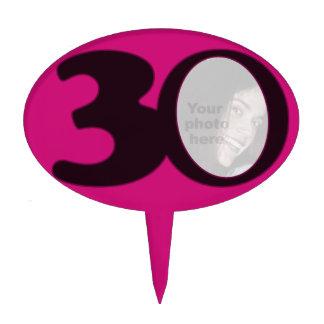 30th birth photo fun hot pink birthday cake topper