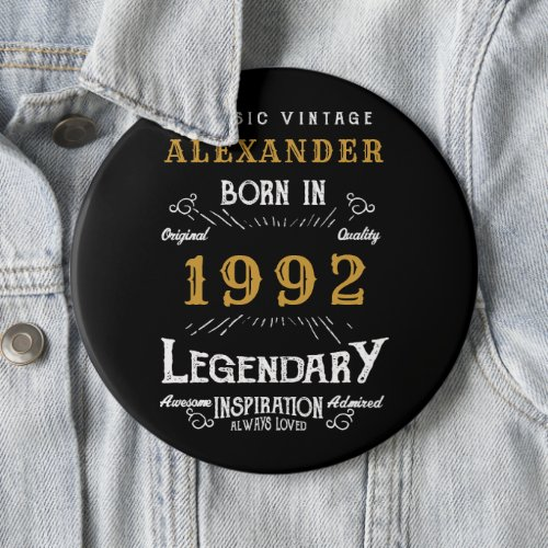 30th Birthday 1992 Add Name Black Gold Legendary Button