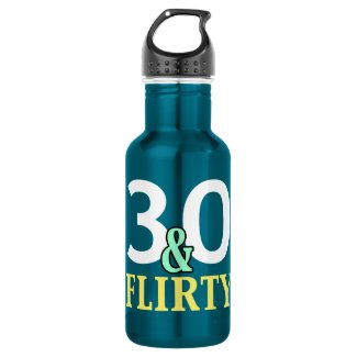 30th Birthday 30 and Flirty 18oz Water Bottle