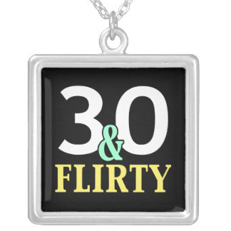 30th Birthday 30 and Flirty Square Pendant Necklace