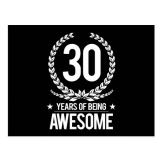 30th Birthday (30 Years Of Being Awesome) Postcard