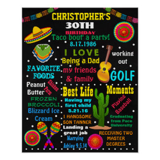 30th Birthday adult Fiesta Mexical chalkboard sign Poster