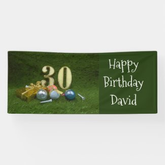 30th Birthday Anniversary to golfer with golf ball Banner