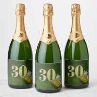 30th Birthday Anniversary to golfer with golf ball Champagne Label