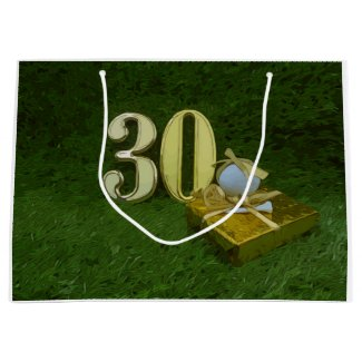 30th Birthday Anniversary to golfer with golf ball Large Gift Bag