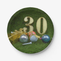 30th Birthday Anniversary to golfer with golf ball Paper Plate