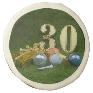 30th Birthday Anniversary to golfer with golf ball Sugar Cookie