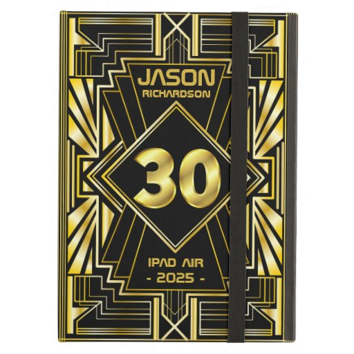 30th Birthday Art Deco Gold Black Great Gatsby Case For iPad Air