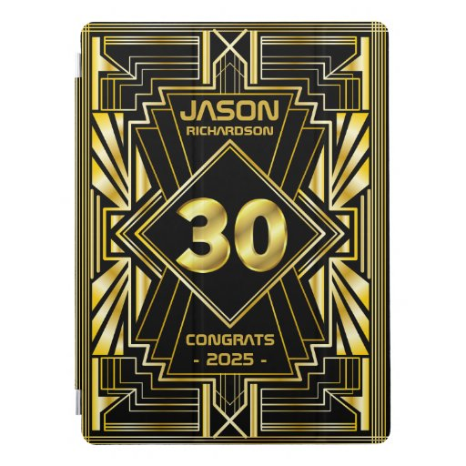 30th Birthday Art Deco Gold Black Great Gatsby iPad Pro Cover