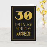 "[ Thumbnail: 30th Birthday ~ Art Deco Inspired Look ""30"" & Name Card ]"