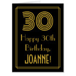 "[ Thumbnail: 30th Birthday: Art Deco Inspired Look ""30"" + Name Card ]"