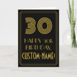 "[ Thumbnail: 30th Birthday: Art Deco Inspired Look ""30"" & Name Card ]"