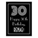 "[ Thumbnail: 30th Birthday — Art Deco Inspired Look ""30"" + Name Card ]"