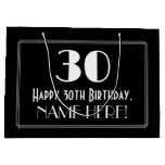"[ Thumbnail: 30th Birthday: Art Deco Inspired Style ""30"", Name Gift Bag ]"