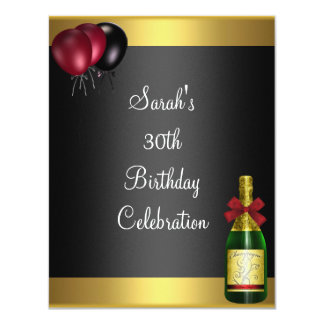 30th Birthday Balloons Champagne Gold Red Blk Card
