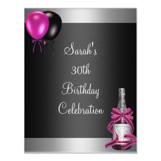 30th Birthday Balloons Champagne Silver Pink Invitation
