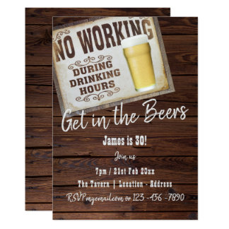 30th Birthday BAR Party Invitation Cheers to BEERS