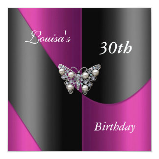 30th Birthday Black Pink Plum Purple Butterfly Card