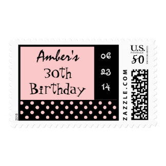 30th Birthday Black Pink Polka Dot Custom Name Postage