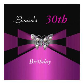30th Birthday Black Plum Purple Butterfly Invite