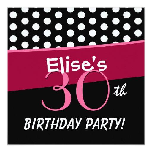 30th Birthday Black White Red Polka Dots W313 Card