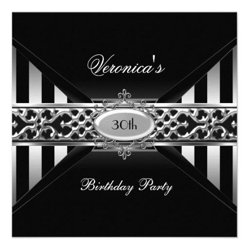 30th Birthday Black White Stripe Silver Invitations