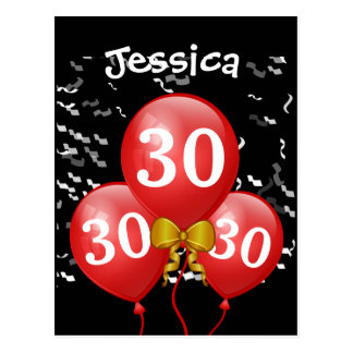 30th Birthday Black with Red Balloons A14 Postcard